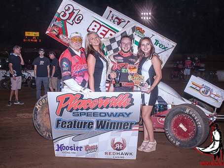 Justyn Cox shoots the gap to win a thrilling Mark Forni Classic finish at Placerville Speedway on Sa
