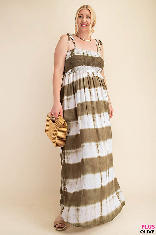 TIE-DYE FABRIC FRONT , BACK SMOCK STRAPPY SHOULDER TIED MIX DRESS