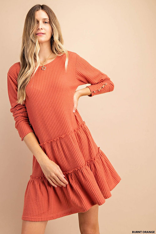 TIERED RUFFLE BRUSHED THERMAL DRESS