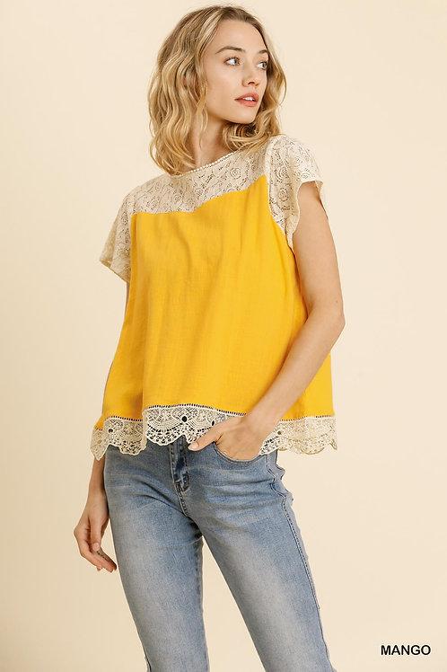 Linen Blend Lace Yoke and Hem Short Sleeve Top with Keyhole