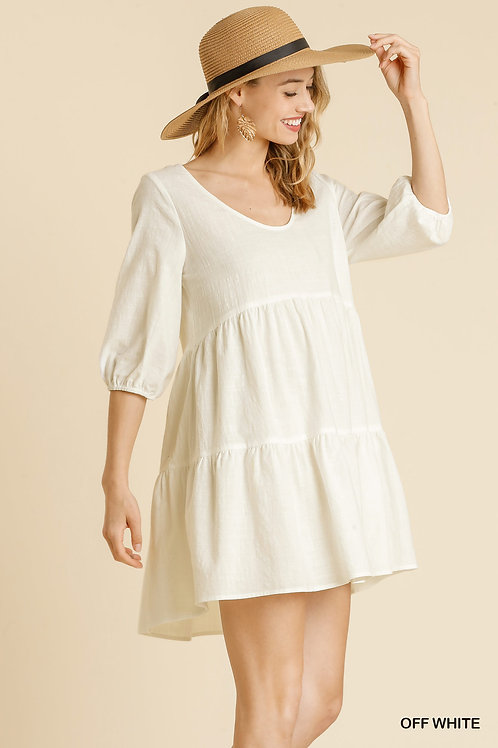 Scoop Neckline Half Sleeve Tiered Babydoll Dress with Back Criss Cross Detail an