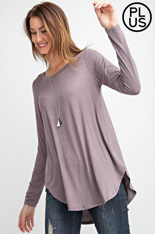 Plus Size, Long sleeve, round neck hi-lo basic top. Loose fit and rounded hem