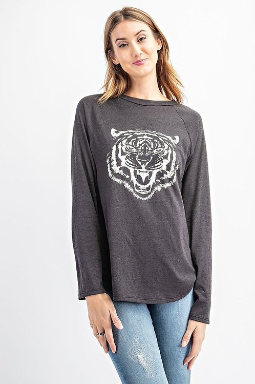 Tri-Blend Front Tiger Screen Print Top with Long Sleeve, Round Neckline