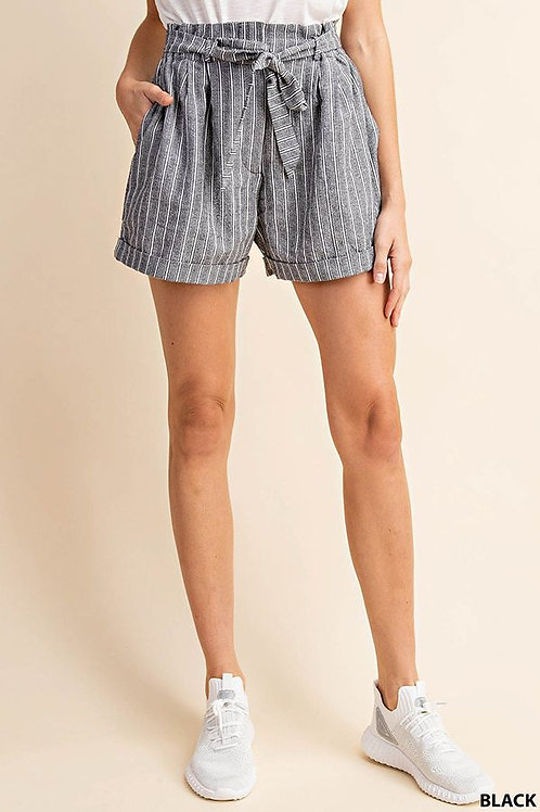 STRIPED TURN UP SUGARBAG SHORT WITH WAIST BLET