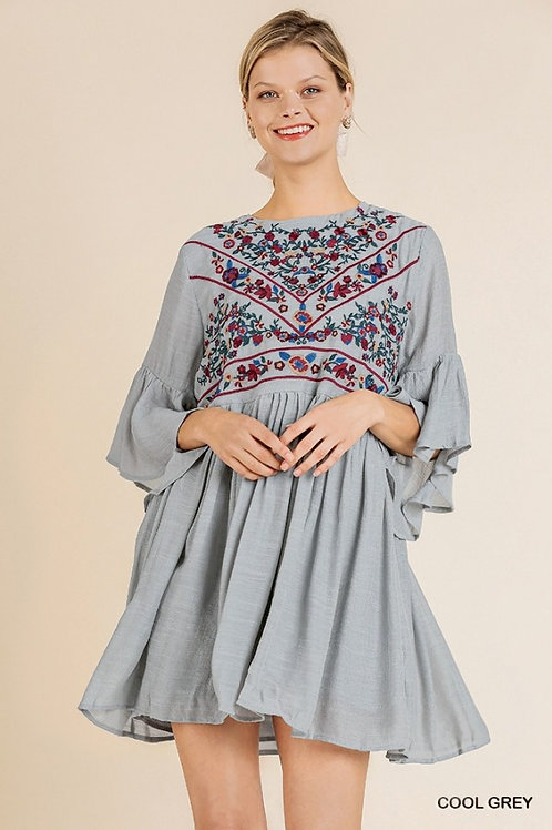 3/4 Bell Sleeve Keyhole Dress with Floral Embroidered Yoke