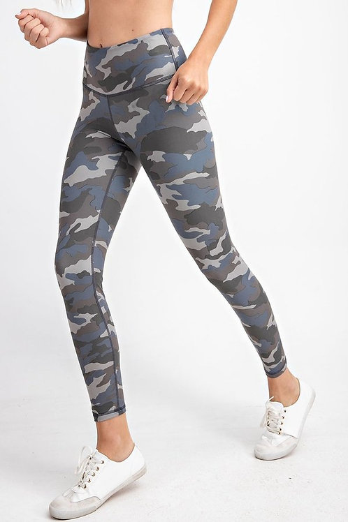 Grey Blue Camouflage print Full length, wide waist band with Yoga stitch leg