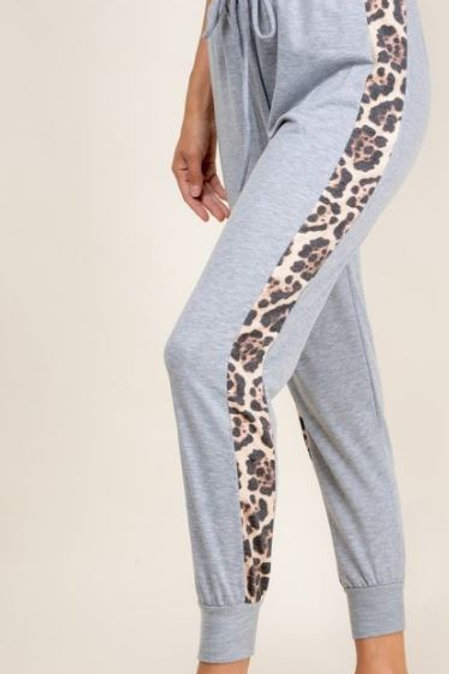 Animal Printed Side Panel Grey Joggers, w/waist strap closure