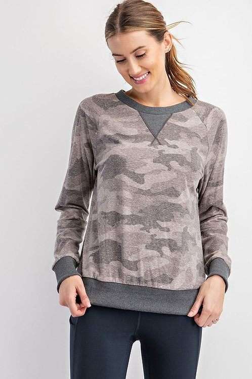 Camo Printed Round Neckline Long Sleeves Loungewear Top
