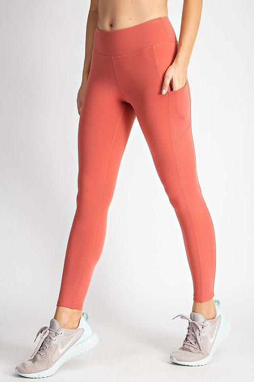 Full length, wide waistband, Butter soft yoga leggings w/rectangular pockets