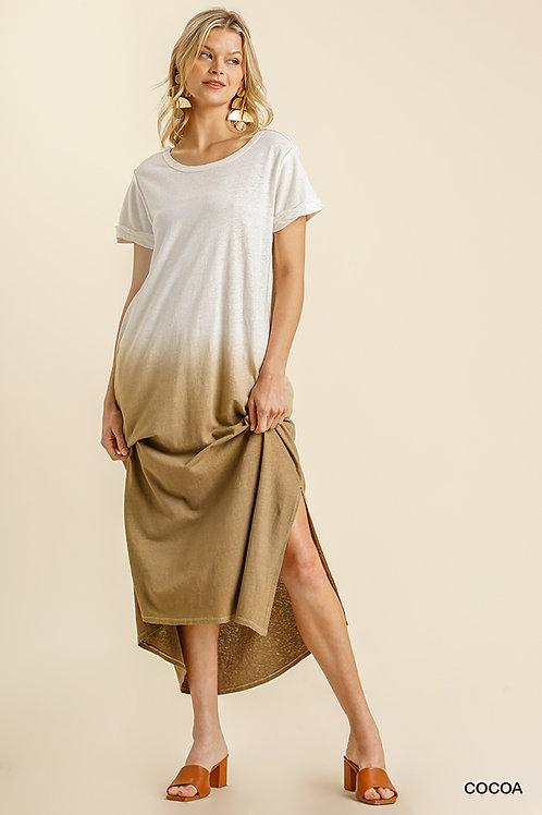 Linen Blend Dip Dye Maxi T-Shirt Dress with Pockets and Side Slits