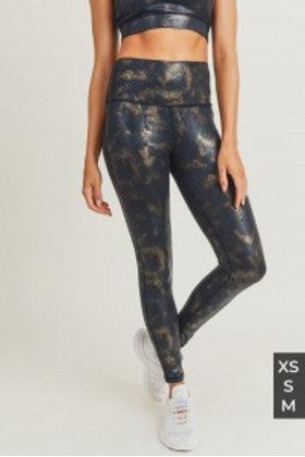 Black Gold Snake Foil Print Highwaist Leggings