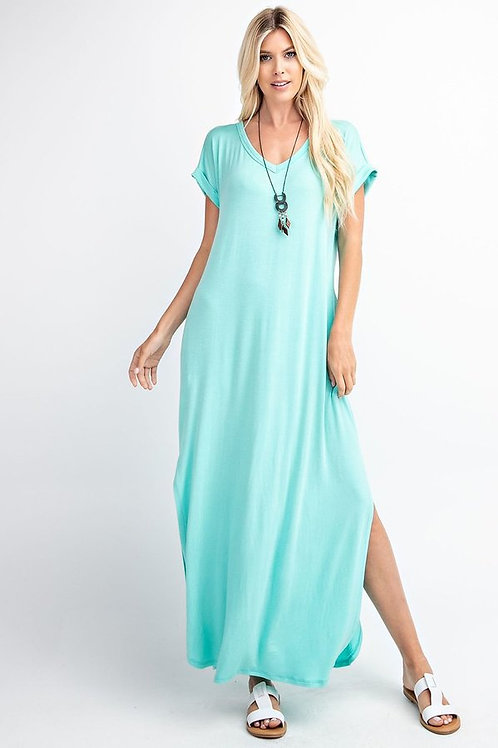 Basic knit maxi dress - Folded short sleeve - V-Neck -  slit hem -side pockets