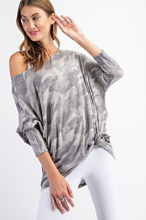 Loose fit, oversize, camouflage print, tri-blend knit top. Dolman 3/4 sleeve
