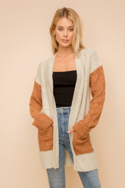 COLOR BLOCK OPEN CARDIGAN WITH POCKETS