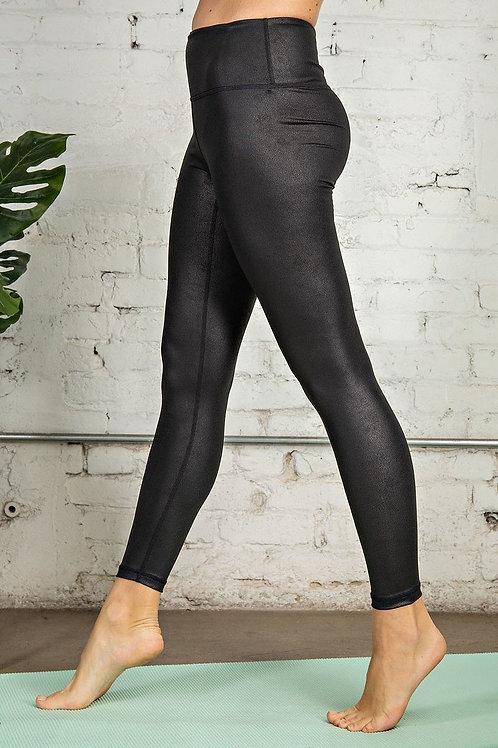 PU Chintz Butter Soft Full Length Yoga Leggings w/a Front Keyhole Pocket