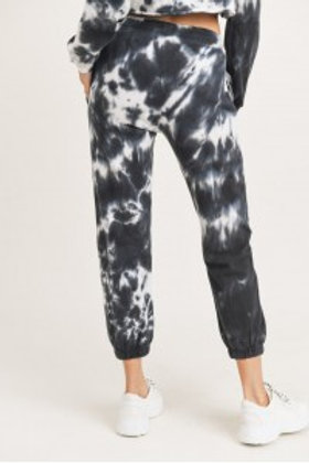 Tie-Dye Cotton Terry Joggers with Cuffed Ankles