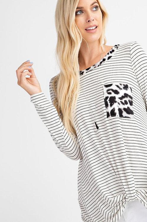 Stripe Long Sleeve with Twist Knot Detail, Round neckline, Pocket