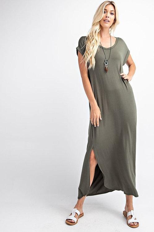 Basic knit maxi dress - Folded short sleeve - V-Neck, pockets, pleated back
