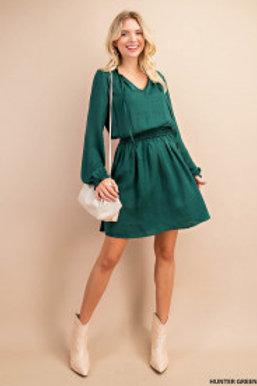 Long Sleeve Smocked Waist Minidress