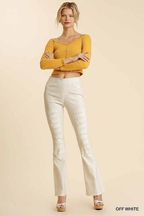 Distressed Detail Elastic Waist Band Stretchy Flare Pants with Back Pockets