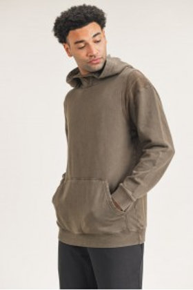 Men's - Mineral-Washed Cotton Hoodie Pullover