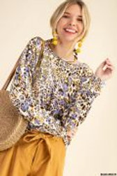 LONG SLEEVE LEOPARD PRINT SHIRT WITH BACK KEYHOLE DETAIL & FRONTAL GOLD GRAPHIC