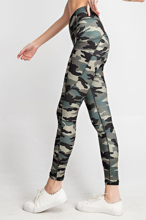 Camouflage print , wide waist band with Yoga stitch Full Length Butter L