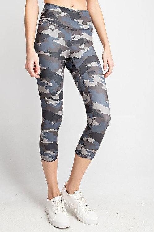 Camo Printed Capri Length Yoga Pant. With Key Pocket. Capri Leggings