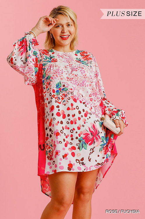 Mixed Print Crochet Trim Detailed Dress with Ruffle Sleeves
