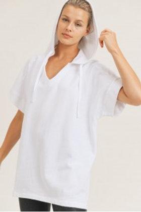 Cotton Terry Boxy Asymmetrical Longline Hoodie Top