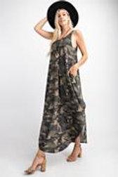 Sleeveless Camo printed Maxi dress with side pockets, Round neckline