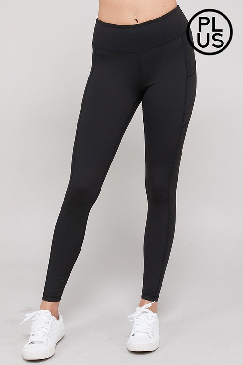 Plus size, Full length, wide waistband, Butter soft yoga leggings w/pockets