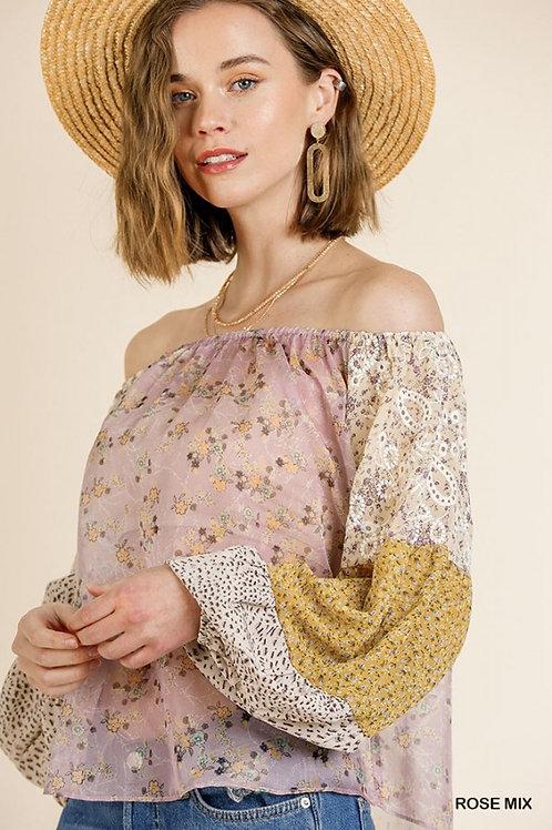 Sheer Mixed Floral Print Long Puff Sleeve Of Shoulder Top (Rose Mix)