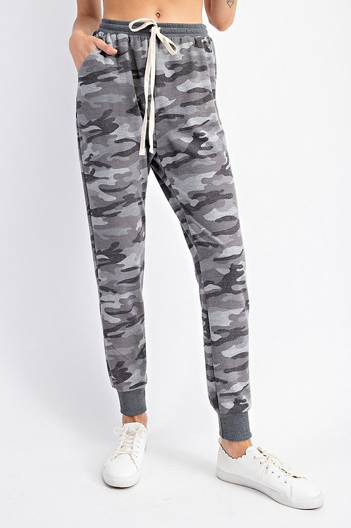 Camo Printed French Terry Jogger Pants with Drawstrings and Side Pockets