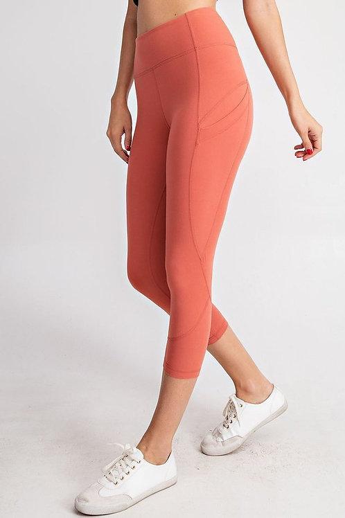 Capri Length Wide waistband with Side Pocket Yoga Leggings, Yoga Pants