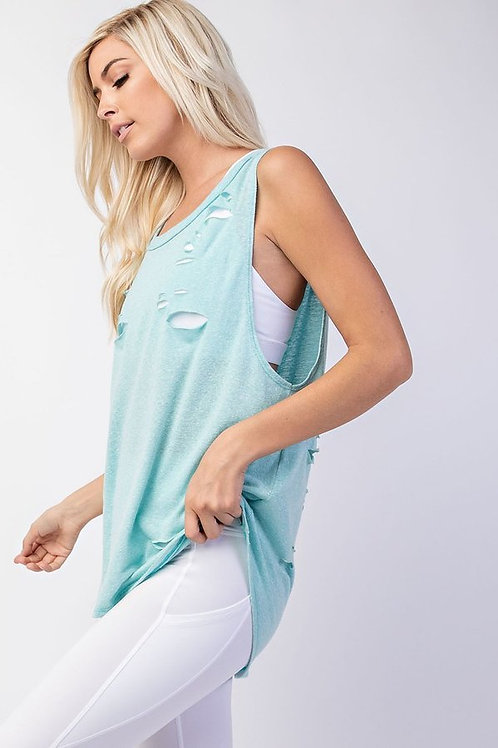 Sleeveless, crew neck with distressed detail on front and back