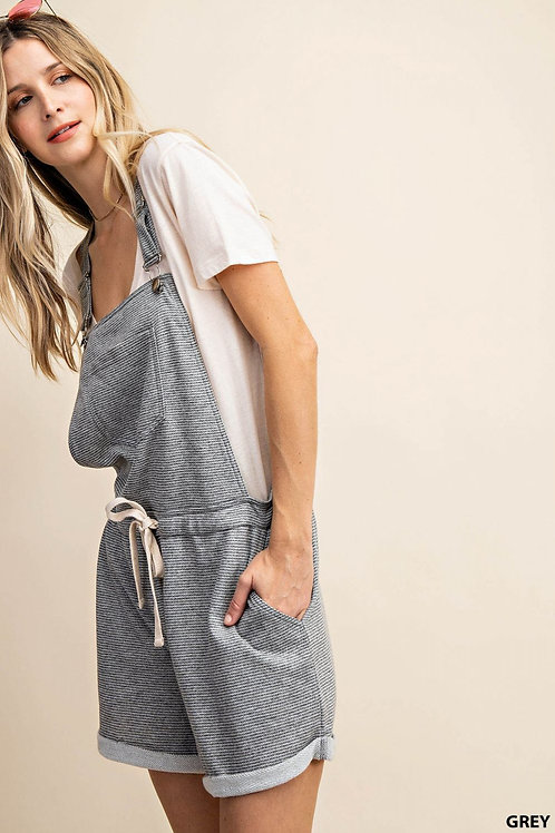 THIN STRIPE TERRY OVERRALLS WITH POCKETS AND WAIST STRAP