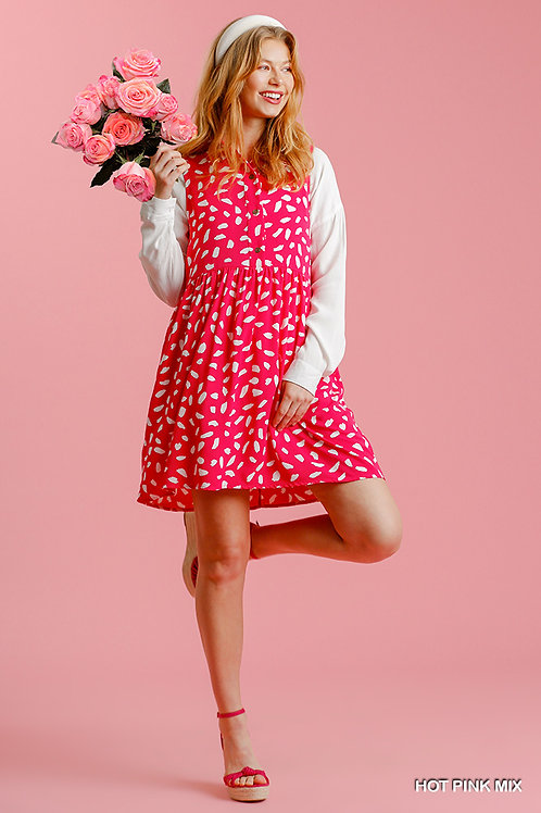 Dalmatian Sleeveless Button Down Collar Dress