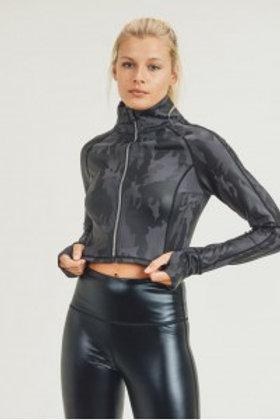 Camo Foil Cropped Raglan Jacket