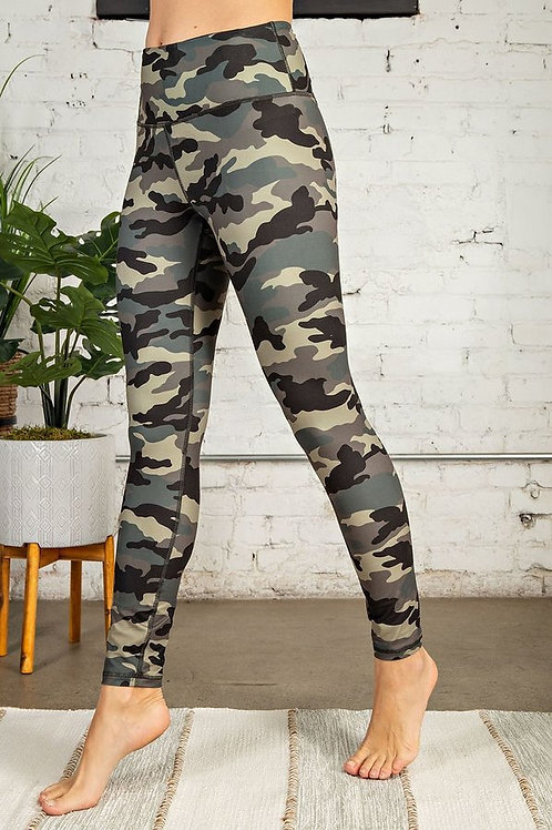 Olive Camouflage print Full length, wide waist band with Yoga stitch leggings