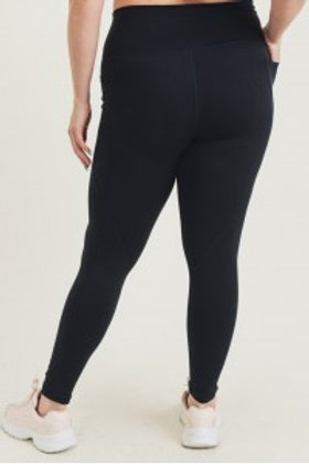CURVY Tapered Band Essential Solid Highwaist Leggings