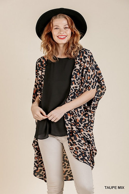 Poly Spandex Blend Animal Print Short Sleeve Open Front Kimono
