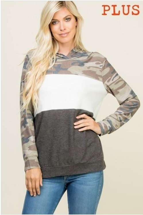 Plus Size Partially Camo Printed Color Block Long Sleeve Hoodie