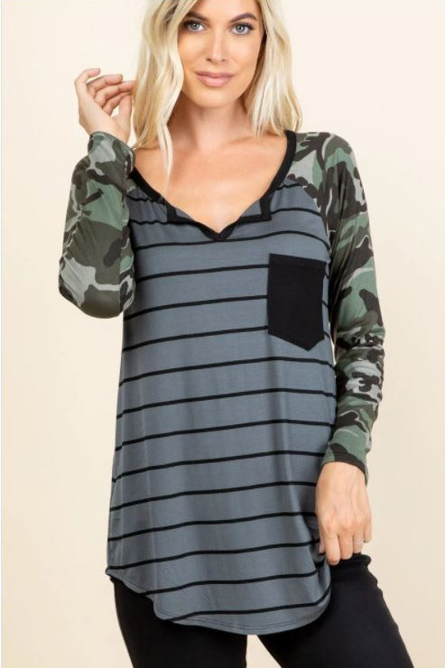 Camo Printed On Long Sleeve with Striped Body Top