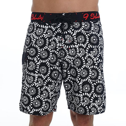 Boardshorts Flowers White