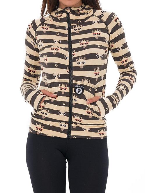 Hooded Aina Vest Bamboo Giraffe Stripes