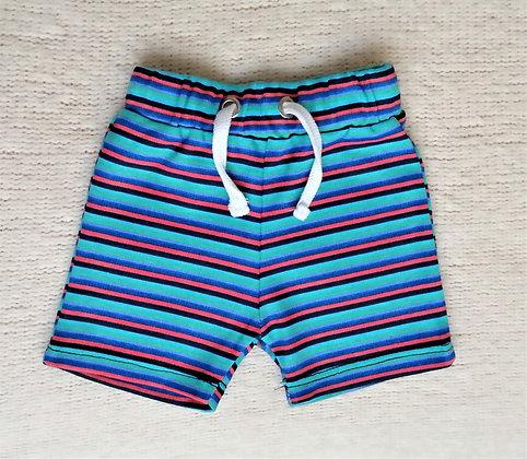 Pantalón corto turquesa rayado