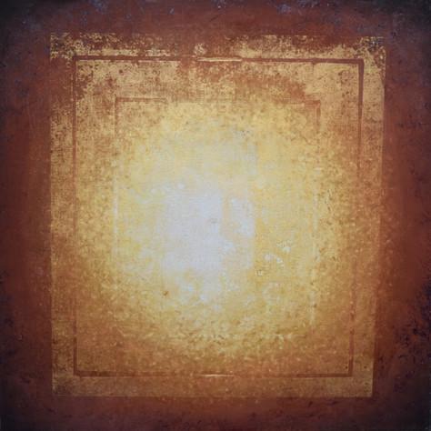 č.330/8 Mandala a tisk z cyklu Příběh dvanácti obrazů z Pražského hradu, 17.7. 2018, olej na plátně, rozměr plátna 120 x 120 cm, cena obrazu 120 000,- Kč