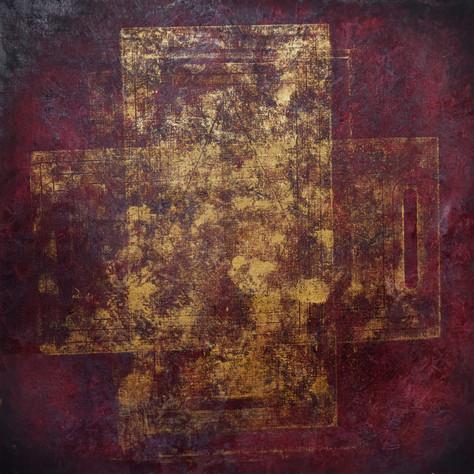 č.329/7,Gotický kříž z cyklu Příběh dvanácti obrazů z Pražského hradu,17.7. 2018, olej na plátně, rozměr plátna 120 x120 cm, cena obrazu 120 000,- Kč