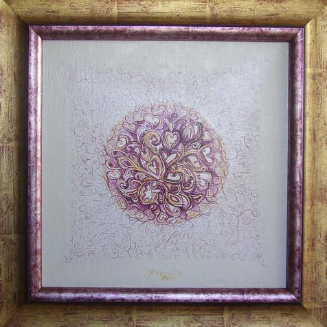 č.268, Orientální srdeční mandala 4, 2016, olej na plátně, rozměr plátna 50 x 50 cm, cena 20 000,-Kč
